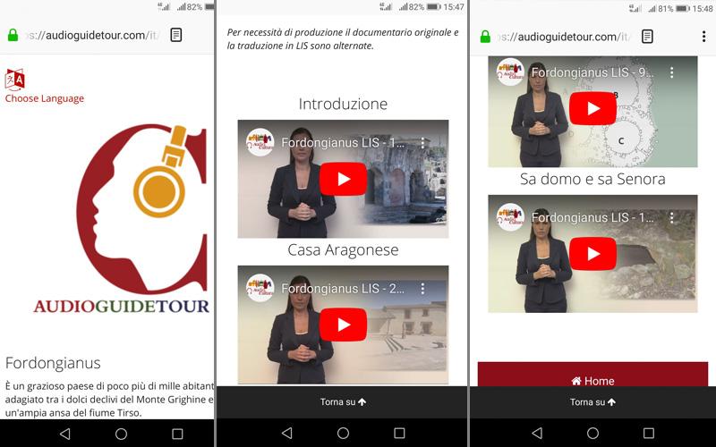 Immagini dell'app del percorso
